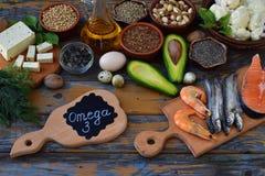 Σύνθεση των προϊόντων που περιέχουν τα ακόρεστα λιπαρά οξέα Omega 3 - ψάρια, καρύδια, tofu, αβοκάντο, αυγό, σόγια, λινάρι, σπόροι Στοκ Εικόνα