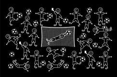Σύνθεση των σχεδίων κινούμενων σχεδίων των μικρών ατόμων Ποδόσφαιρο και ποδόσφαιρο ανασκόπηση που σύρει το floral διάνυσμα χλόης διανυσματική απεικόνιση