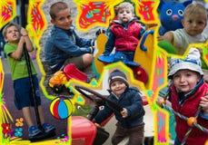 Σύνθεση των φωτογραφιών, παιχνίδι παιδιών στοκ φωτογραφίες