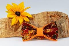 Σύνθεση: Υπερβολικός πορτοκαλής δεσμός τόξων, κίτρινο λουλούδι και κομμάτι της πριονισμένης ξυλείας σε ένα άσπρο υπόβαθρο στοκ φωτογραφία με δικαίωμα ελεύθερης χρήσης
