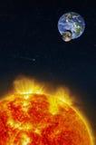 Σύνθεση φαντασίας μιας ηλιακής έκλειψης που βλέπει από τον ήλιο Στοκ Εικόνες