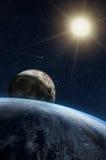 Σύνθεση φαντασίας του πλανήτη Γη και του φεγγαριού Στοκ φωτογραφίες με δικαίωμα ελεύθερης χρήσης