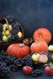 Σύνθεση φθινοπώρου με τα μήλα, σταφύλια, κολοκύθα και dogwood στοκ εικόνα με δικαίωμα ελεύθερης χρήσης