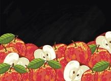 Σύνθεση φρούτων της Apple στον πίνακα κιμωλίας, ράστερ Στοκ Εικόνες