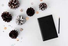 Σύνθεση Χριστουγέννων ημερολογίων για το χρόνο Χριστουγέννων κώνοι και διακοσμήσεις Χριστουγέννων στο άσπρο υπόβαθρο Στοκ εικόνες με δικαίωμα ελεύθερης χρήσης