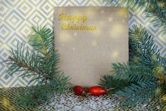 Σύνθεση Χριστουγέννων με ελεύθερου χώρου για τα συγχαρητήρια Spruc στοκ εικόνα