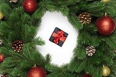 Σύνθεση Χριστουγέννων με τη στρογγυλή τοπ άποψη πλαισίων στοκ εικόνα