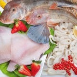 Σύνθεση ψαριών cousine τροφίμων, συστατικό για την κατανάλωση Στοκ φωτογραφίες με δικαίωμα ελεύθερης χρήσης