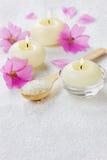Σύνθεση SPA με το αλατισμένο λουτρό θάλασσας στο ξύλινο κουτάλι, τα ρόδινα λουλούδια και τα καίγοντας κεριά Στοκ φωτογραφίες με δικαίωμα ελεύθερης χρήσης