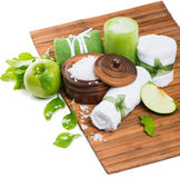 Σύνθεση SPA με το πράσινο μήλο Στοκ Εικόνες