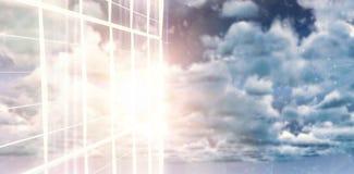 Σύνθετη εικόνα άμεσα κάτω από τον πυροβολισμό του κτηρίου γυαλιού Στοκ εικόνα με δικαίωμα ελεύθερης χρήσης