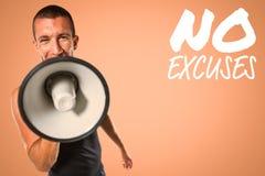 Σύνθετη εικόνα αρσενικό να φωνάξει εκπαιδευτών μέσω megaphone Στοκ Φωτογραφία