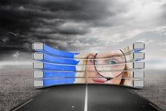 Σύνθετη εικόνα ξανθού με την ενίσχυση - γυαλί στην αφηρημένη οθόνη Στοκ εικόνες με δικαίωμα ελεύθερης χρήσης