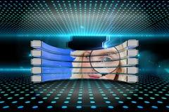 Σύνθετη εικόνα ξανθού με την ενίσχυση - γυαλί στην αφηρημένη οθόνη Στοκ φωτογραφία με δικαίωμα ελεύθερης χρήσης