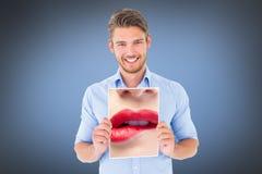 Σύνθετη εικόνα στενού επάνω της γυναίκας που δαγκώνει τα κόκκινα χείλια στοκ φωτογραφίες