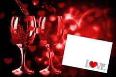 Σύνθετη εικόνα της αγάπης με την κλειδαριά και το κλειδί Στοκ Εικόνες