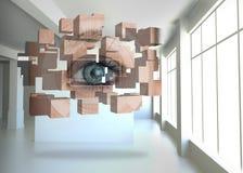 Σύνθετη εικόνα της ανάλυσης ματιών στην αφηρημένη οθόνη Στοκ εικόνα με δικαίωμα ελεύθερης χρήσης