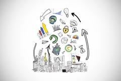 Σύνθετη εικόνα της ανάλυσης στοιχείων doodles πέρα από τη εικονική παράσταση πόλης Στοκ Εικόνες