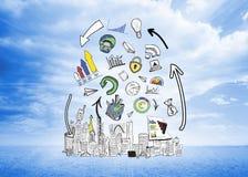 Σύνθετη εικόνα της ανάλυσης στοιχείων doodles πέρα από τη εικονική παράσταση πόλης Στοκ Εικόνα