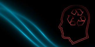 Σύνθετη εικόνα της ανακύκλωσης του σημαδιού στο ανθρώπινο κεφάλι ελεύθερη απεικόνιση δικαιώματος