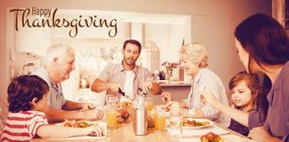 Σύνθετη εικόνα της απεικόνισης του ευτυχούς χαιρετισμού κειμένων ημέρας των ευχαριστιών στοκ εικόνες