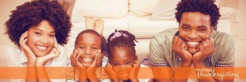 Σύνθετη εικόνα της απεικόνισης του ευτυχούς χαιρετισμού κειμένων ημέρας των ευχαριστιών απεικόνιση αποθεμάτων
