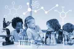 Σύνθετη εικόνα της απεικόνισης των χημικών τύπων Στοκ Εικόνες