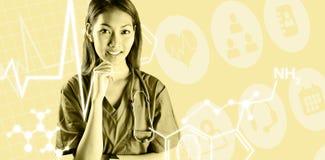 Σύνθετη εικόνα της ασιατικής νοσοκόμας με το στηθοσκόπιο που εξετάζει τη κάμερα Στοκ φωτογραφία με δικαίωμα ελεύθερης χρήσης