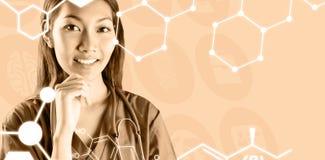 Σύνθετη εικόνα της ασιατικής νοσοκόμας που σκέφτεται με το χέρι στο πηγούνι Στοκ Εικόνες