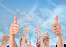 Σύνθετη εικόνα της αύξησης των χεριών Στοκ φωτογραφίες με δικαίωμα ελεύθερης χρήσης
