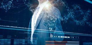Σύνθετη εικόνα της γραφικής εικόνας του επιχειρηματία με το ρομποτικό χέρι τρισδιάστατο Στοκ εικόνα με δικαίωμα ελεύθερης χρήσης