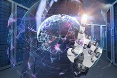 Σύνθετη εικόνα της γραφικής εικόνας του επιχειρηματία με το ρομποτικό βραχίονα τρισδιάστατο Στοκ Εικόνα