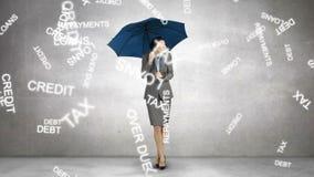 Σύνθετη εικόνα της επιχειρηματία που κρατά μια ομπρέλα απεικόνιση αποθεμάτων