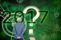 Σύνθετη εικόνα της επιχειρηματία που στέκεται με τα χέρια πίσω από την πλάτη Στοκ φωτογραφία με δικαίωμα ελεύθερης χρήσης