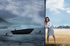 Σύνθετη εικόνα της επιχειρηματία που ωθεί μακριά τη σκηνή Στοκ Εικόνα