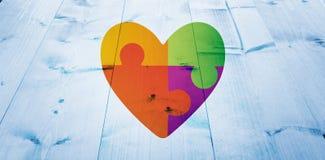 Σύνθετη εικόνα της καρδιάς συνειδητοποίησης αυτισμού απεικόνιση αποθεμάτων