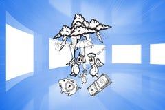 Σύνθετη εικόνα της καλής χρηματοδότησης εναντίον της κακής χρηματοδότησης doodle Στοκ φωτογραφίες με δικαίωμα ελεύθερης χρήσης