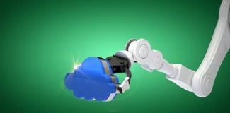 Σύνθετη εικόνα της καλλιεργημένης εικόνας του βραχίονα ρομπότ που κρατά το μπλε σύννεφο τρισδιάστατο Στοκ φωτογραφία με δικαίωμα ελεύθερης χρήσης