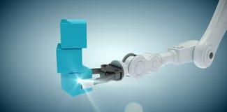 Σύνθετη εικόνα της καλλιεργημένης εικόνας του χεριού ρομπότ που κρατά τα μπλε κιβώτια στο σωρό τρισδιάστατο Στοκ Εικόνες