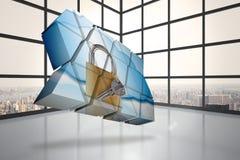 Σύνθετη εικόνα της κλειδαριάς και του κλειδιού στην αφηρημένη οθόνη Στοκ Φωτογραφίες