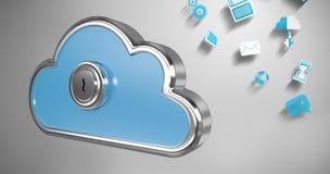 Σύνθετη εικόνα της κλειδαρότρυπας στο μπλε ντουλάπι μορφής σύννεφων τρισδιάστατο Στοκ εικόνες με δικαίωμα ελεύθερης χρήσης