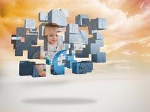 Σύνθετη εικόνα της μεγαλοφυίας μωρών στην αφηρημένη οθόνη Στοκ φωτογραφία με δικαίωμα ελεύθερης χρήσης