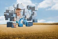 Σύνθετη εικόνα της μεγαλοφυίας μωρών στην αφηρημένη οθόνη Στοκ Εικόνες