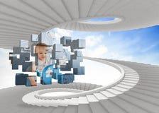 Σύνθετη εικόνα της μεγαλοφυίας μωρών στην αφηρημένη οθόνη Στοκ Εικόνα