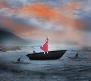 Σύνθετη εικόνα της ξανθής στροφής χαμόγελου sailboat Στοκ φωτογραφίες με δικαίωμα ελεύθερης χρήσης