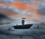 Σύνθετη εικόνα της ομπρέλας εκμετάλλευσης επιχειρηματιών sailboat Στοκ Φωτογραφία