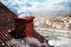 Σύνθετη εικόνα της πτώσης χιονιού στοκ εικόνες