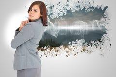 Σύνθετη εικόνα της συγκεντρωμένος επιχειρηματία Στοκ φωτογραφίες με δικαίωμα ελεύθερης χρήσης
