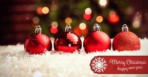 Σύνθετη εικόνα της Χαρούμενα Χριστούγεννας εμβλημάτων Στοκ εικόνες με δικαίωμα ελεύθερης χρήσης