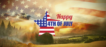Σύνθετη εικόνα της ψηφιακά παραγμένης εικόνας της αμερικανικής σημαίας μορφής αστεριών με το κείμενο απεικόνιση αποθεμάτων